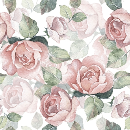 Watercolor seamless pattern. Background with roses 14
