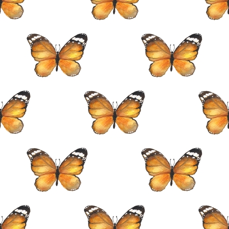 butterfly background: Butterfly. Seamless pattern. Watercolor background Stock Photo