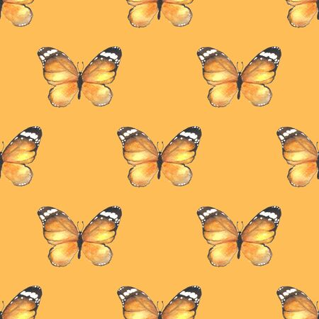 butterfly background: Yellow butterfly. Seamless pattern. Watercolor background Stock Photo
