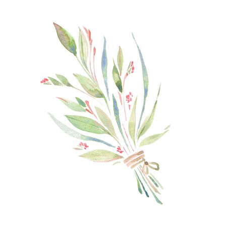 Wildflowers. Hand drawn bouquet. Watercolor painting Stock Photo