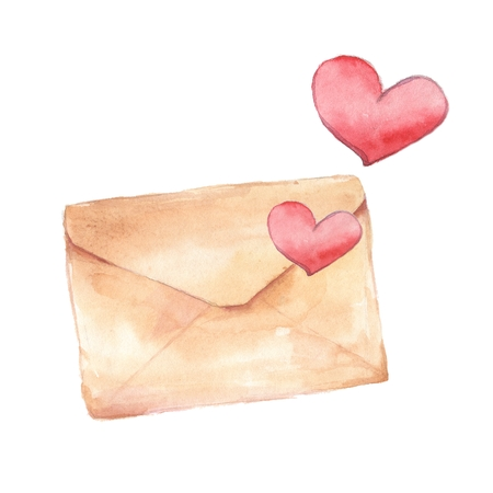 Mailing envelope. Watercolor painting. Element for design