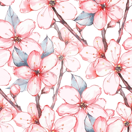 japanese garden: Japanese garden 15. Watercolor seamless floral pattern. Hand drawn background