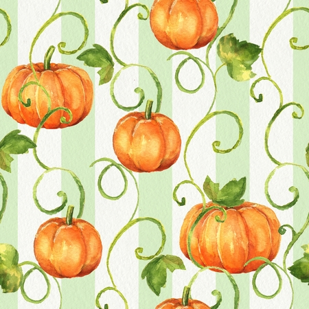 duvet: Pumpkins. Seamless watercolor pattern. Background with paper texture 10