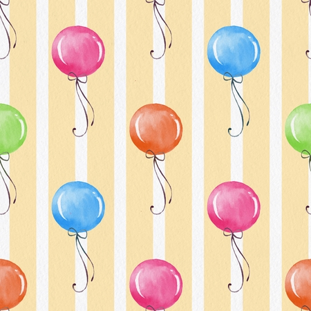duvet: Seamless background with balloons. Hand drawn watercolor pattern on paper texture 1