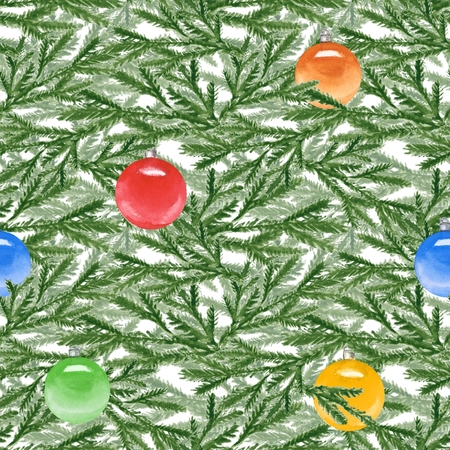 spruce: Spruce branches with Christmas balls. Watercolor seamless pattern. Hand painted background 1 Stock Photo