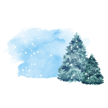 Green fir tree and snow. Winter background. Watercolor painting 2