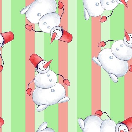duvet: Snowmen. Seamless pattern 12. Hand painted background
