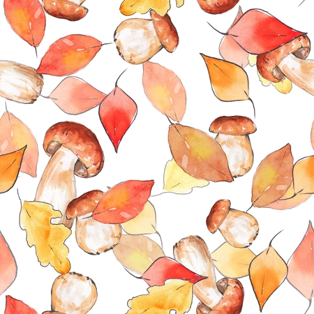 Autumn pattern 2. Seamless background with watercolor mushrooms and leaves.