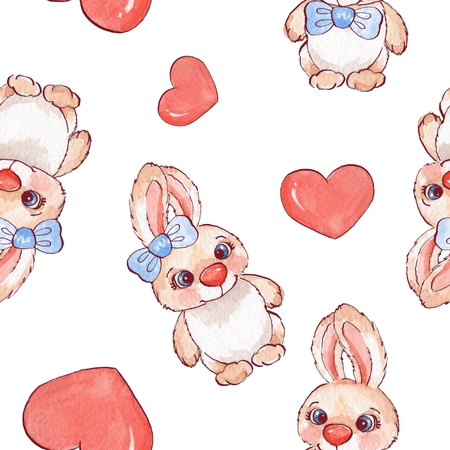 cute love: Background with cartoon rabbits. Watercolor seamless pattern 01