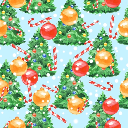 duvet: New year pattern. Watercolor painting. Christmas seamless background 14