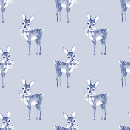 fawn: Pattern with Baby Deer. Hand drawn cute fawn. Seamless background 3