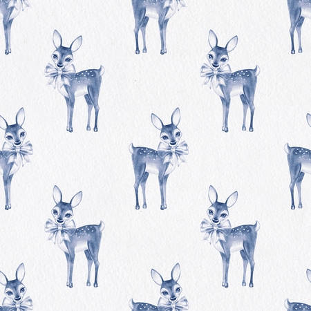 baby deer: Pattern with Baby Deer. Hand drawn cute fawn on paper background. Seamless background 2