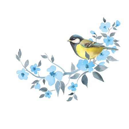 Bird on floral branch 2. Watercolor painting. Element for design. Isolated on white Stock Photo