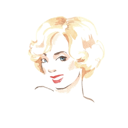 Blonde woman. Beautiful female face. Watercolor painting. Retro style Stock Photo
