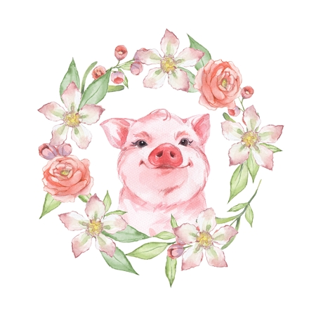 Happy pig. Watercolor illustration with floral wreath Stock Photo
