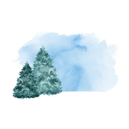 Green fir tree. Winter background. Watercolor landscape 写真素材
