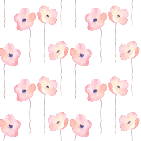 duvet: Delicate watercolor flowers. Seamless floral pattern Stock Photo