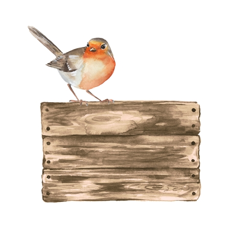 Wooden sign and robin. Watercolor illustration with a bird. Archivio Fotografico