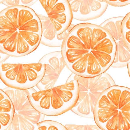 orange slice: Watercolor seamless pattern with orange slice. Hand painted background