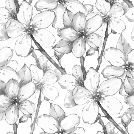 japanese garden: Japanese garden. Watercolor seamless floral pattern. Black and white background