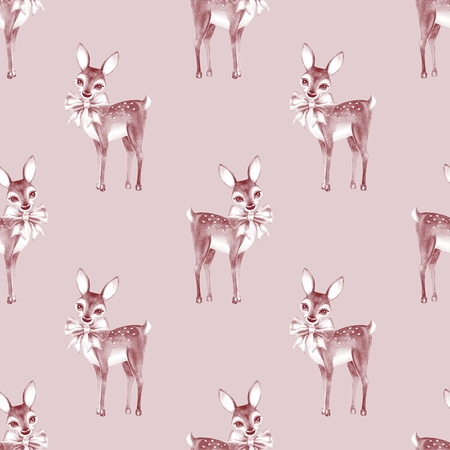 baby deer: Pattern with Baby Deer. Hand drawn cute fawn on paper background. Seamless background