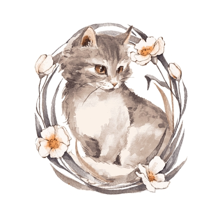 Cat 1. Gray fluffy kitten and flowers. Watercolor painting 2