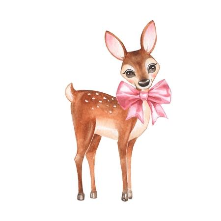 아기 사슴입니다. 손으로 그려진 된 귀여운 새끼 사슴 나비입니다. 만화 그림, 화이트 절연입니다. 수채화 물감 스톡 콘텐츠