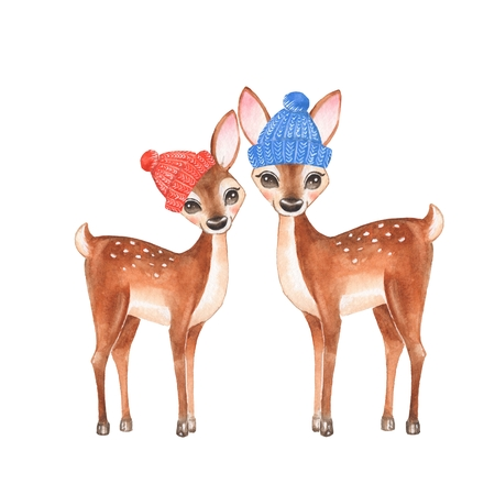 Fawns. Knitted caps. Cartoon illustration, isolated on white. Watercolor painting