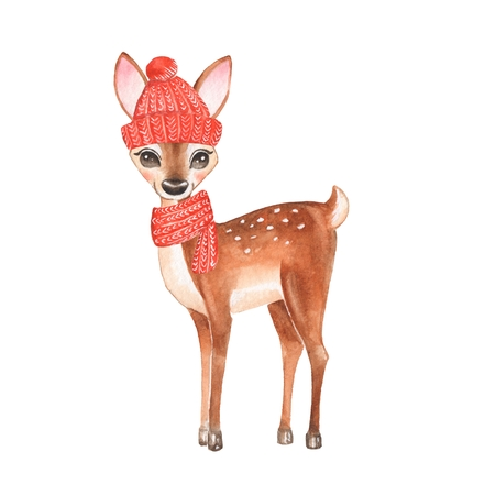 Baby Deer. Red cap and scarf. Hand drawn cute fawn. Cartoon illustration, isolated on white. Watercolor painting