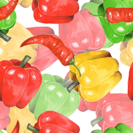 bulgarian: Pepper watercolor. Hand drawn seamless pattern 4 Stock Photo