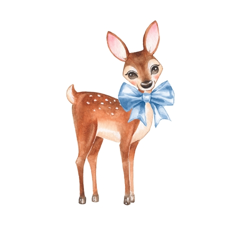 Baby Deer. Hand drawn cute fawn with a blue bow. Cartoon illustration, isolated on white. Watercolor painting