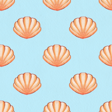 Seashells. Watercolor background. Hand drawn seamless pattern 3 Stock Photo
