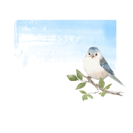 cor: Cute watercolor bird and blue sky. Hand painted watercolor illustration with place for text