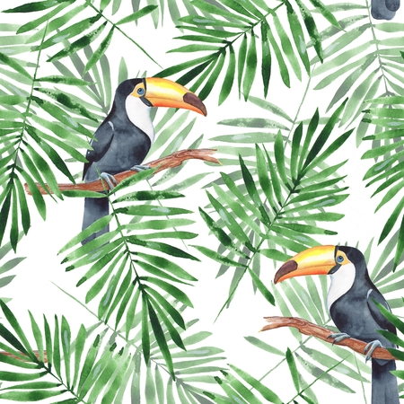 Palm leaves and Toucan. Watercolor seamless pattern 4