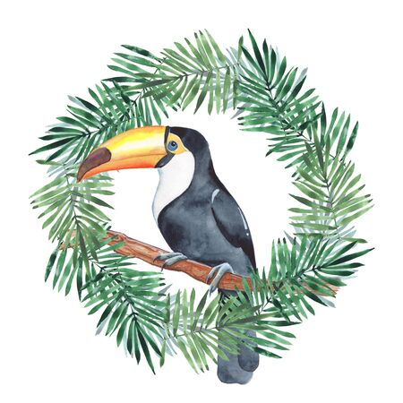 palm wreath: Palm leaves and toucan. Wreath 1. Watercolor painting