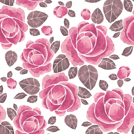 Watercolor roses. Floral seamless pattern 52. Hand drawn background