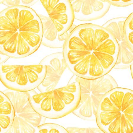Watercolor seamless pattern with lemon slice. Hand painted background 2 Stock Photo