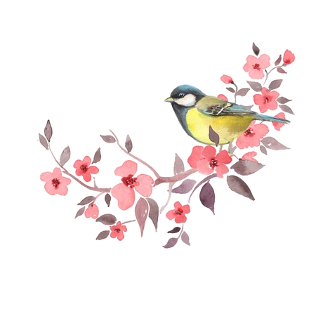 Bird on floral branch 2. Red flowers. Watercolor painting. Isolated on white