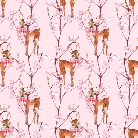 Cherry blossom and fawns. Watercolor seamless floral pattern 1