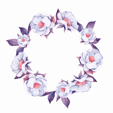 Watercolor floral wreath.White flowers. Hand pained element for design 2 Stock Photo