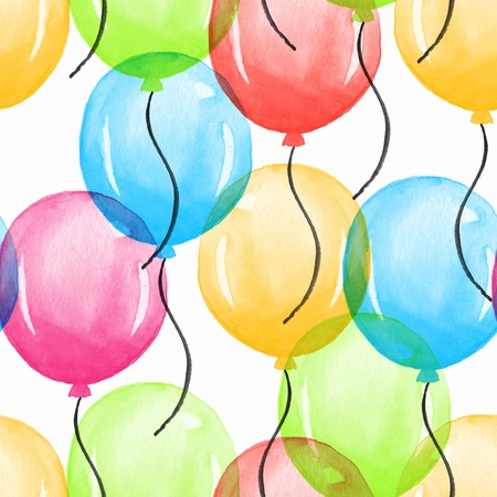 Balloons. Watercolor seamless pattern 04. Hand painted background