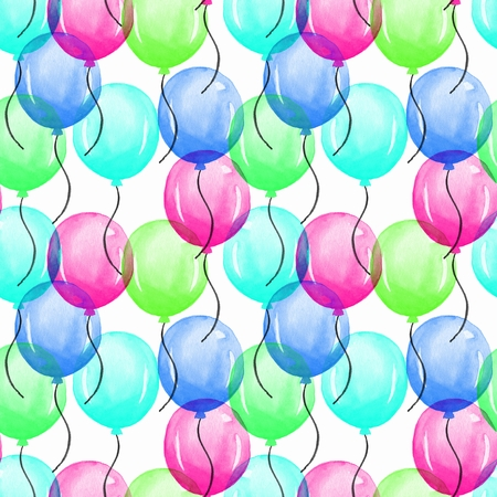 duvet: Balloons. Watercolor seamless pattern 05. Hand painted background