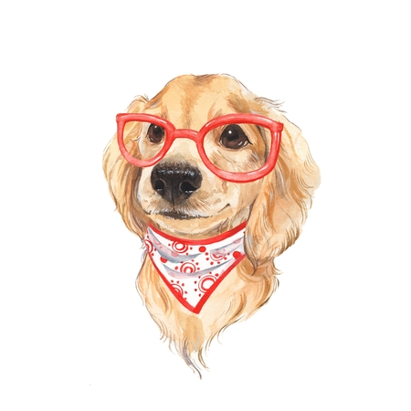 Cute dog sketch. Red glass. Hand painted. Watercolor illustration. Stock Photo