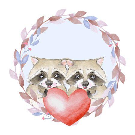 Raccoon. Couple. Red heart