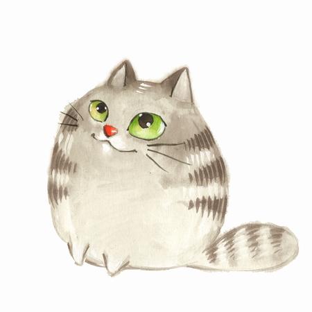 Cartoon cat. Watercolor illustration