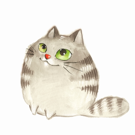 Cartoon cat. Watercolor illustration