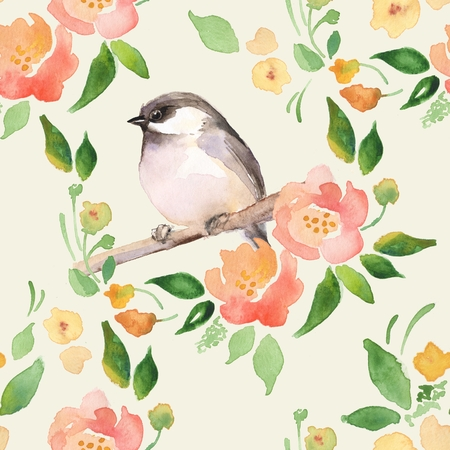 Watercolor floral background with a cute bird. Seamless pattern 1