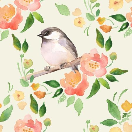 Waterverf bloemenachtergrond met een leuke vogel. Naadloos patroon 1 Stockfoto - 71278946