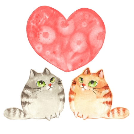 Cartoon cats. Valentines day. Watercolor card Stock Photo