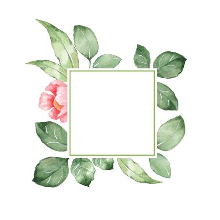 Watercolor floral frame. Background for design
